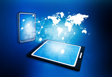 Business network. On tablet PC Royalty Free Stock Photography