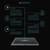 Business network timeline infographic template. Futuristic. Tablet. Vector Royalty Free Stock Image