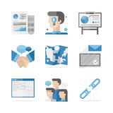 Business networking cooperation flat icons set vector illustration
