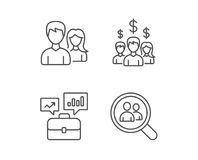 Business Networking, Portfolio and Find a Job. Business Networking, Portfolio case and Find a Job line icons. Group, Earnings and Growth chart signs. Quality Stock Image