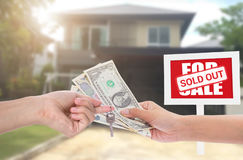 Business new house real estate sign in front of new house for sale Royalty Free Stock Photography