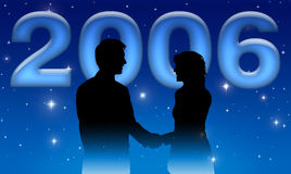 Business New Year 2006. New Year business hand shake foreground with twinkle stars background Stock Image