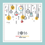 Business New Year's flat line design greeting card Royalty Free Stock Image