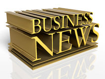 Business News. 3D rendered illustration of BUSINESS NEWS letters  in deep perspective, forming a typographic, metal cast design Stock Photo