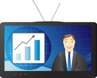 Business news. Businessman - newsman reported news of a successful company royalty free illustration