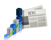 Business news with bar graph Royalty Free Stock Images