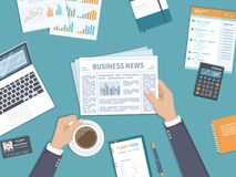 Business news. Businessman holding a newspaper and coffee cup on the desktop. Coffee break. Top view. Vector Stock Image