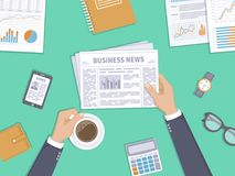 Business news. Businessman holding a newspaper and coffee cup on the desktop. Coffee break, breakfast. Top view. Vector illustration Stock Photos