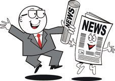 Business news cartoon. Cartoon of excited businessman holding newspaper and dancing with animated news publication Royalty Free Stock Photography