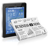 Business and News Concept. Financial Concept with Tablet PC and Business Newspaper, vector isolated on white background Royalty Free Stock Photography