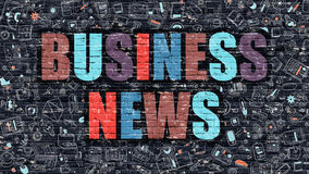 Business News Concept with Doodle Design Icons. Business News. Multicolor Inscription on Dark Brick Wall with Doodle Icons. Business News Concept in Modern Royalty Free Stock Photo