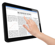 Business News Concept on Tablet PC. Hand touch screen on tablet pc with business news. Include clipping path for tablet, screen and hand. Isolated on white. XXXL Stock Photography