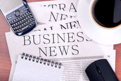 Business news on the desk in the office Stock Photos