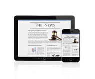 Business news at digital tablet and smart phone royalty free illustration
