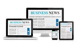 Business news feed on mobile devices Royalty Free Stock Photography