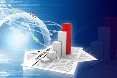 Business news and graph. Digital illustration of Business news and graph Royalty Free Stock Photos