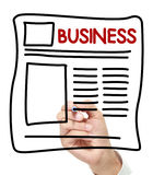 Business News hand drawn on white board Royalty Free Stock Photos