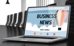 Business News - on Laptop Screen. Closeup. 3D. Stock Photos