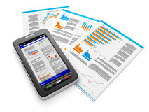 Business news on mobile phone. The group of doc Royalty Free Stock Photography