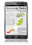 Business News on Smart Phone. On white background, vector illustration Stock Photography