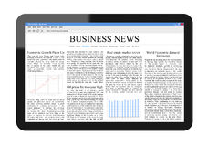 Business News on Tablet PC. Include clipping path for tablet and screen. Isolated on white. XXXL size, ultra quality Stock Photos