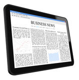 Business News on Tablet PC. Include clipping path for tablet and screen. Isolated on white. XXXL size, ultra quality Stock Images