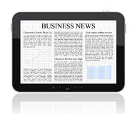 Business news on Tablet PC. Isolated on white