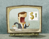 Business news on TV. Illustration of financial news on TV Royalty Free Stock Image