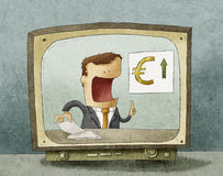 Business news on TV Royalty Free Stock Photos