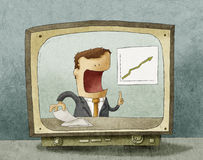 Business news on TV Stock Photo