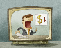 Business news on TV Stock Photos