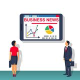 Business News vector. Business News. Social media. Man and woman read hot news from tablet. Vector illustration flat design. Isolated on white background Stock Image