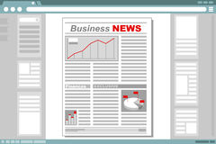 Business newspaper with browser window frame. A vector illustration of business newspaper with browser window frame Stock Photography