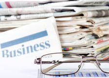 Business the newspaper with chart Royalty Free Stock Images