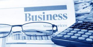 Business the newspaper with chart Stock Photos