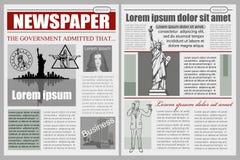 Business Newspaper. Financial Information. Vector newspaper template. Gray newsprint Stock Images
