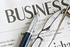 Business Newspaper Headline Stock Photo