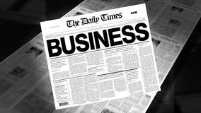 Business - Newspaper Headline (Intro + Loops) stock video