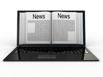 Business newspaper on laptop Stock Photo