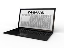 Business newspaper on laptop Stock Image
