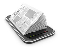 Business newspaper on smart  phone. Mobile 3D Royalty Free Stock Photos