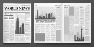 Business newspaper template. Financial news headline, newspapers pages and finance journal isolated vector illustration. Business newspaper template. Financial royalty free illustration