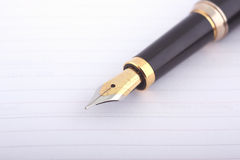 Business note. Fountain pen on organizer or notebook Stock Photos