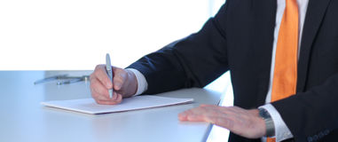 Business notes. Man taking important business notes royalty free stock photos