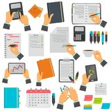 Business notes, calendar, to-do list, notebook, tablet color icons set. Different business manipulations isolated on white Royalty Free Stock Images