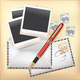 Business object. Envelope, Stamp and Pen. Stock Photos