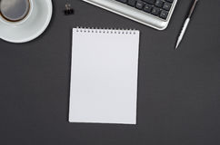 Business objects on a black desk. Stock Photo
