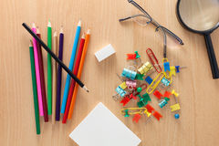 Business objects of colorful pencils,white paper note,Magnifying Royalty Free Stock Photos