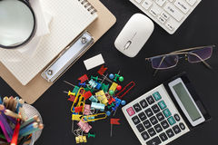 Business objects of computer and supplies on office desk. Stock Photography