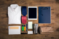 Business objects on the desk, top view Stock Photos